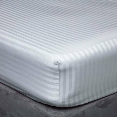 Belledorm 540TC Satin Stripe Single Fitted Sheet, Platinum