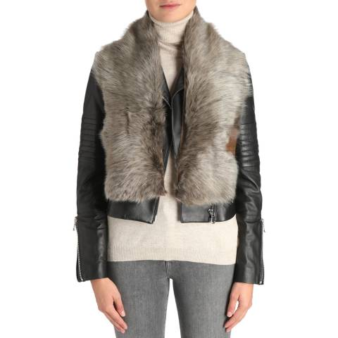 Laycuna London Deep Tan Sheepskin Scarf