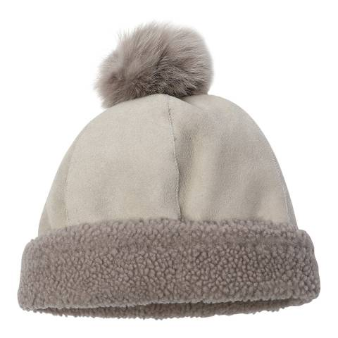 Laycuna London Chalk Curly Sheepskin Bobble Hat