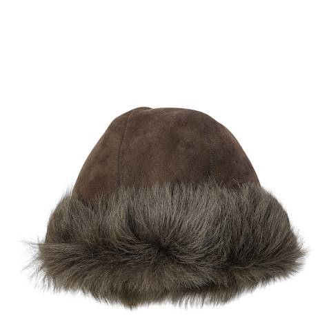 Laycuna London Brown/green Sheepskin Hat