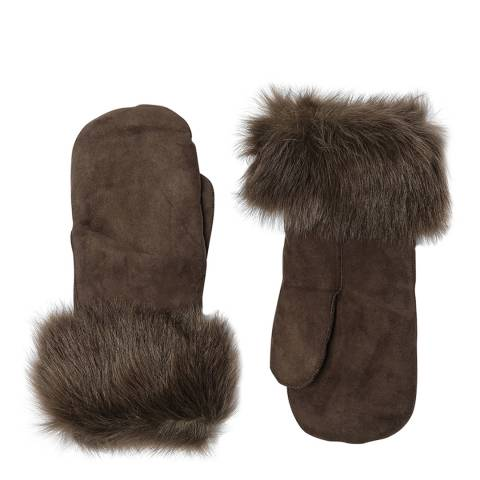 Laycuna London Brown/green Sheepskin Mitten