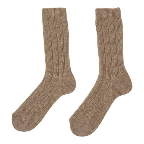Laycuna London Taupe Cashmere Blend Ribbed Socks