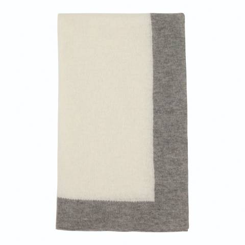 Laycuna London White/Grey Cashmere Blend Stole