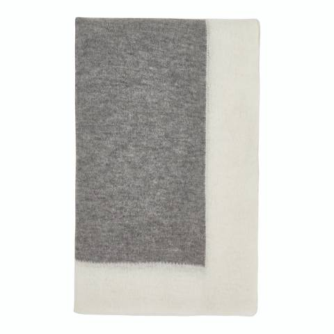 Laycuna London Grey/White Cashmere Blend Stole