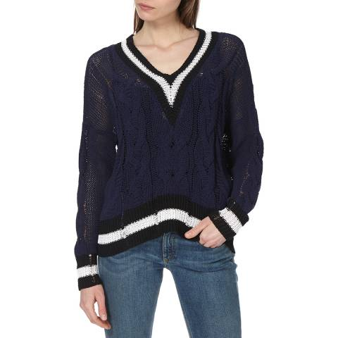 Rag & Bone Women's Navy Emma V Neck Relaxed Jumper