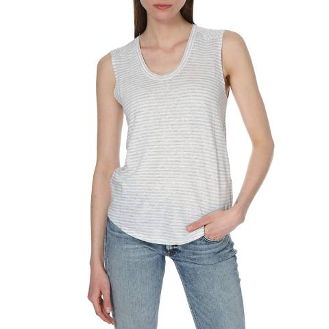 Rag & Bone Women's Heather Grey/White Valley Stripe Top