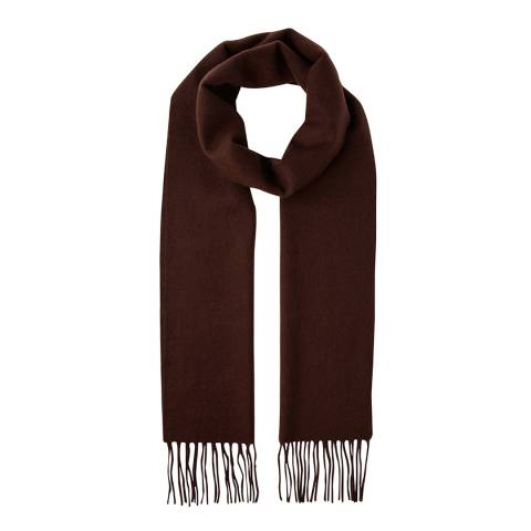 Scott & Scott London Dark Brown Woven Cashmere Scarf