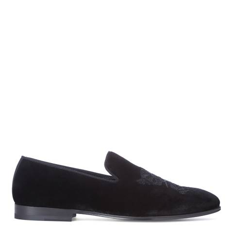 Alexander McQueen Men's Black Velvet Embroidered Slipper