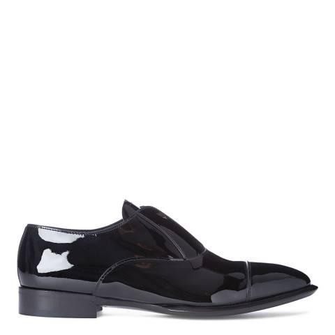 Alexander McQueen Men's Black Patent Leather Slip On Zip Front Derby