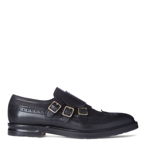 Alexander McQueen Men's Black Leather Biker Brogue Shoe