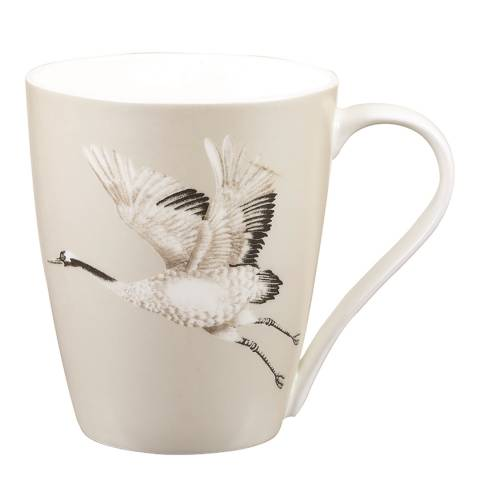 Harlequin Cranes in Flight Platinum Aspen Mug, 425ml