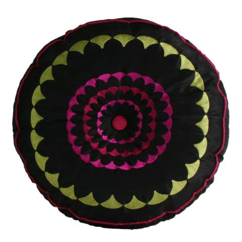 Paoletti Black/Fuschia Romany Cushion 35x35cm