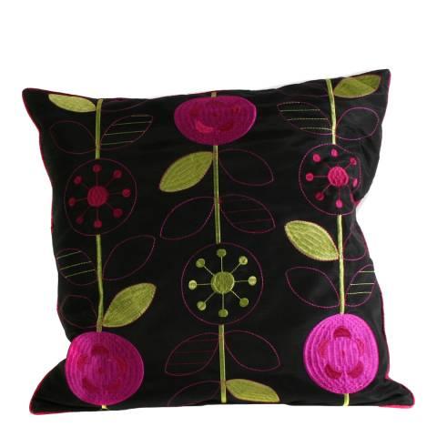 Paoletti Black/Fuschia Romany Cushion 45x45cm