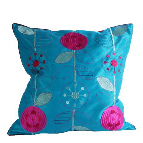 Paoletti Kingfisher/Magenta Romany Cushion 45x45cm