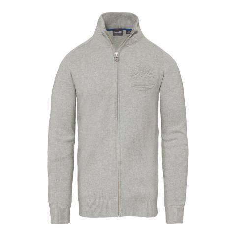 Timberland Men's Grey Stop River Logo Full Zip Top