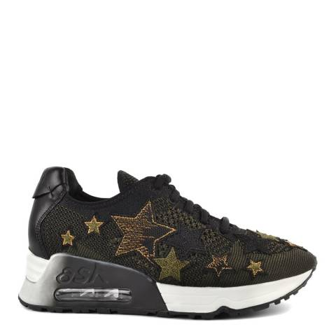 ASH Black & Green Knit Lucky Star Applique Sneakers