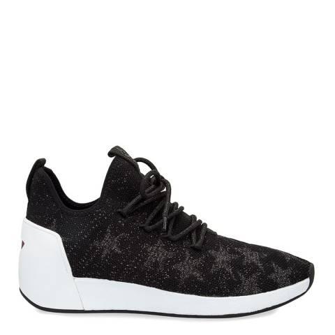 ASH Black Knit Jaguar Silver Metallic Star Sneakers
