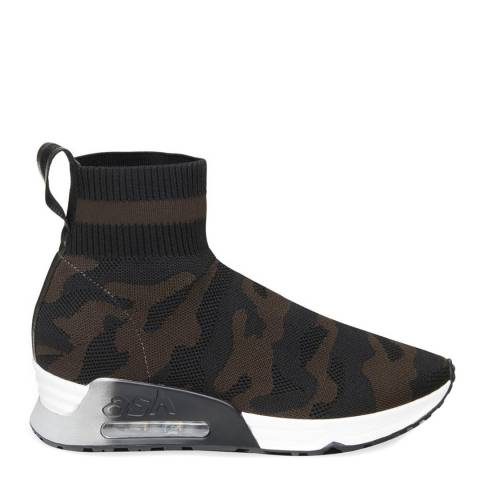 ASH Camo Black Stetch Knit Lulu Military Sneakers