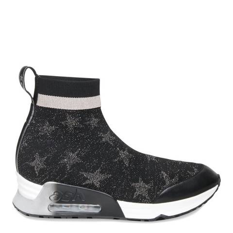 ASH Black Stretch Knit Lulla Metallic Sneakers