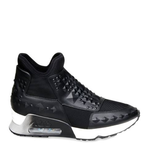 ASH Black Leather & Neoprene Lazer Stud Sneakers
