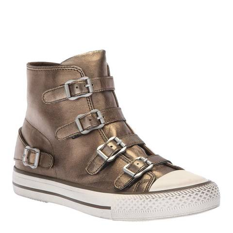 ASH Bronze Leather Virgin Buckle Sneakers
