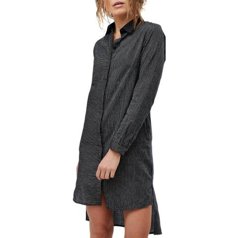 Bolongaro Trevor Charcoal Pinstripe Shirt Dress