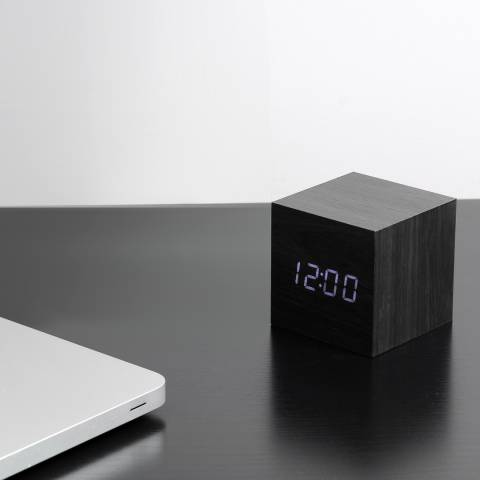 Gingko Black Cube Click Clock with White LED