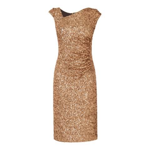 L K Bennett Gold Jazz Sequin Detail Dress