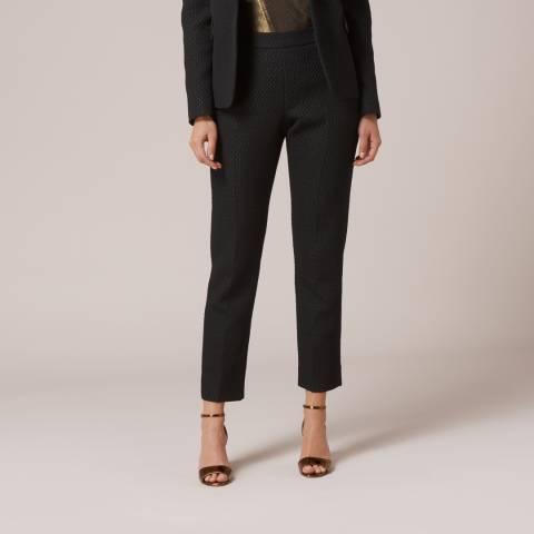 L K Bennett Black Lolly Cropped Jacquard Trousers