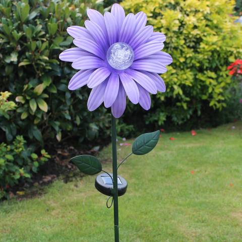 Solar Purple Daisy Flower Stake Brandalley