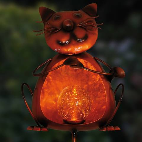 Creekwood Solar Orange Cat Flame Stake