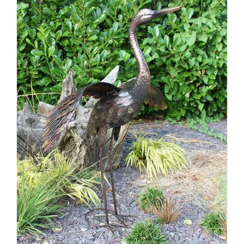 Creekwood Small Bronze Crane with Wings Down