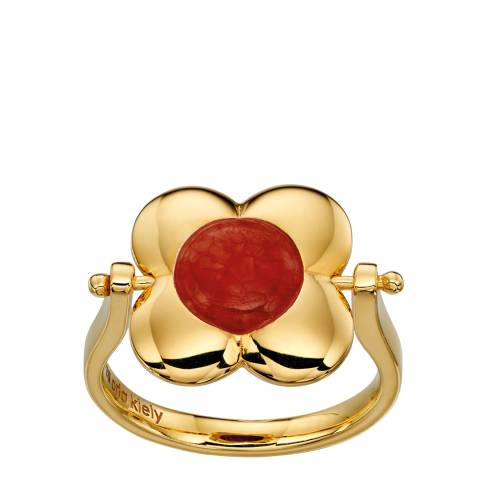 Orla Kiely Yellow Gold Tiger's Eye Inlay Rotating Ring