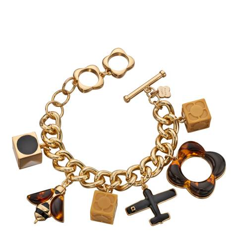 Orla Kiely Gold/Tortoiseshell Bee And Plane Charms Bracelet