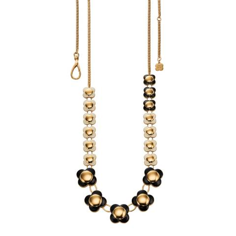 Orla Kiely Black and Cream Long Flower Necklace