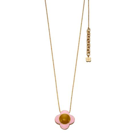 Orla Kiely Gold/Pink Enamel Flower Pendant
