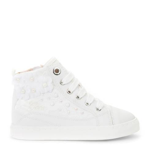 Geox White Flower Details Trainers