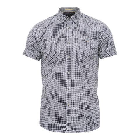 Ted Baker Navy Munkee Diamond Printed Shirt
