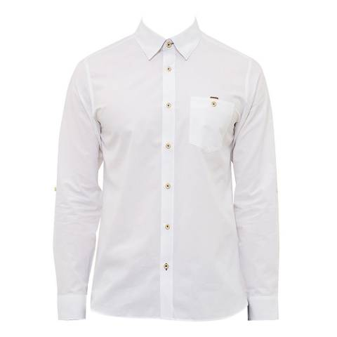 Ted Baker White Newway End On End Semi Plain Shirt