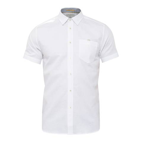 Ted Baker White Palpin Textured Linen Shirt
