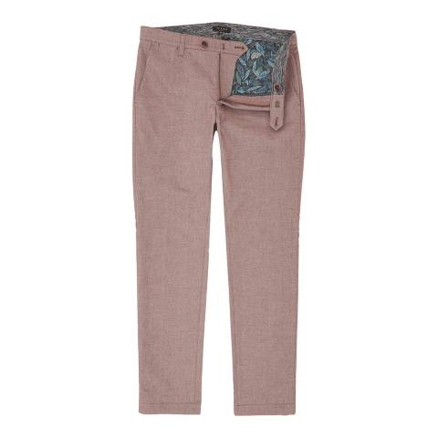 Ted Baker Red Curlong Slim Fit Mini Design Trousers