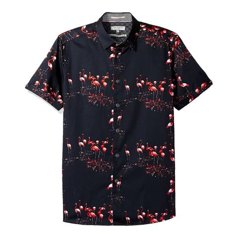 Ted Baker Navy Flamingo Scene Print Shirt