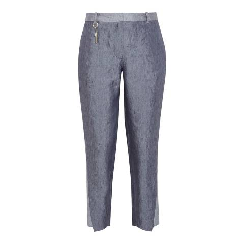 Ted Baker Navy Quintai Side Panel Linen Trousers