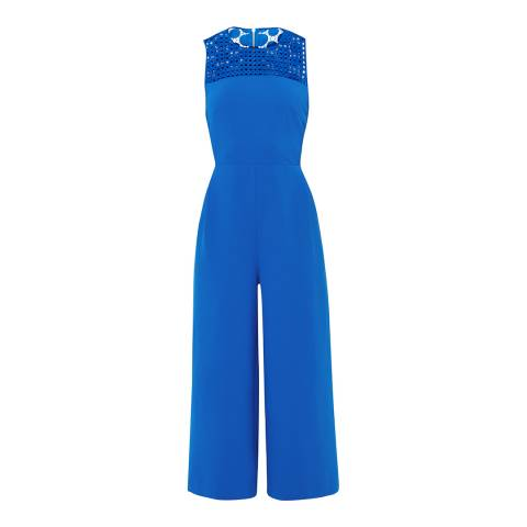 Ted Baker Mid Blue Realo Lace Detail Jumpsuit