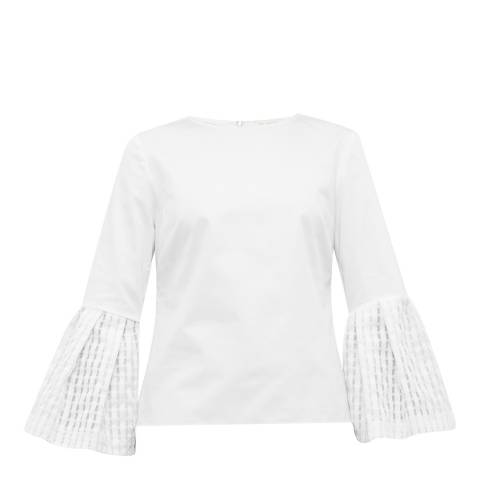 Ted Baker White Gailee Gingham Bell Sleeve Top