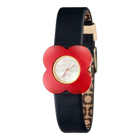 Orla Kiely Cream/Red/Navy Quartz Flower Watch