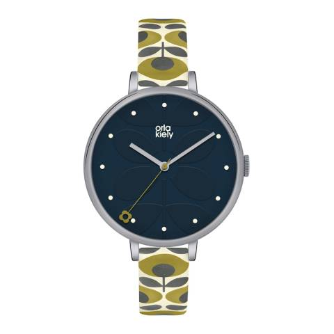 Orla Kiely Blue/Cream/Green Quartz Flower Watch