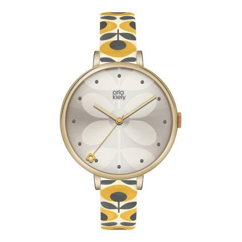 Orla Kiely Yellow/Silver Quartz Flower Watch