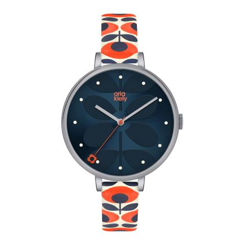 Orla Kiely Blue/Orange/Silver Quartz Flower Watch