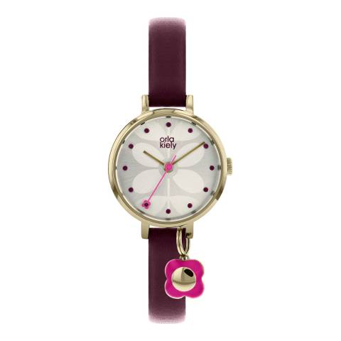 Orla Kiely Silver/Burgundy/Gold Quartz Flower Watch